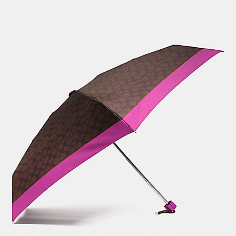 COACH f63365 SIGNATURE MINI UMBRELLA SILVER/BROWN/FUCHSIA