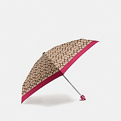COACH F63365 Signature Mini Umbrella SILVER/HOT PINK