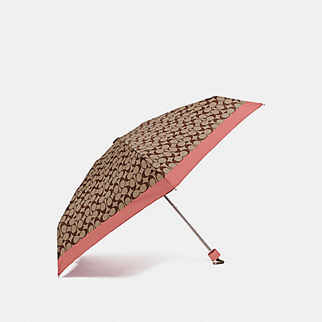 COACH F63365 SIGNATURE MINI UMBRELLA CORAL/LIGHT KHAKI/SILVER