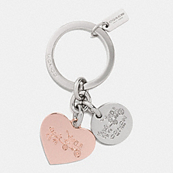 COACH F63381 Heart Charm With Multi Mix Key Ring SILVER/ROSEGOLD