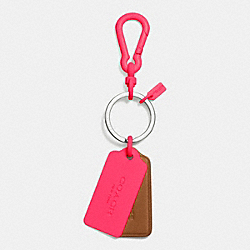 COACH F63399 C.o.a.c.h. Novelty Multi Hangtag Key Ring NE/SADDLE NEON PINK