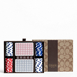 COACH F63429 Coach Heritage Stripe Poker Set
