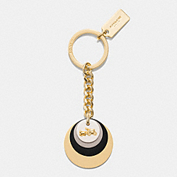 COACH F63479 Resin Stacked Disc Key Ring GOLD/CHALK