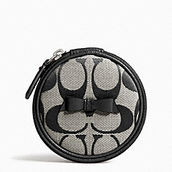 COACH F63583 Signature Stripe Bow Jewelry Pouch SILVER/BLACK/WHITE/BLACK