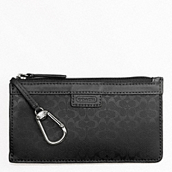 COACH F63656 Heritage Signature Embossed Pvc Envelope Keycase BLACK