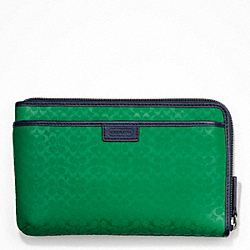 COACH HERITAGE SIGNATURE EMBOSSED PVC MULTI FUNCTION CASE - GREEN - F63657