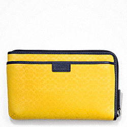 COACH HERITAGE SIGNATURE EMBOSSED PVC MULTI FUNCTION CASE - YELLOW - F63657