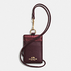 COACH F63668 Id Lanyard In Bicolor Crossgrain Leather IME8I
