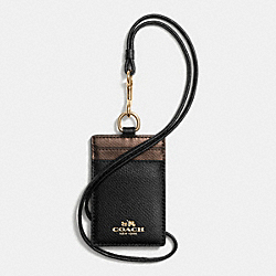 COACH F63668 Id Lanyard In Bicolor Crossgrain Leather IME8Y