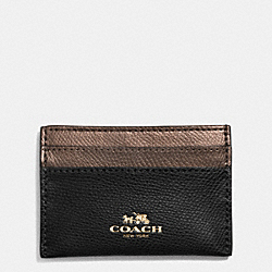 COACH F63669 Card Case In Bi-color Crossgrain Leather IME8Y