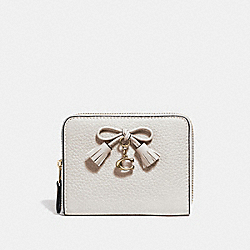 COACH F63714 - SMALL ZIP AROUND WALLET CHALK/LIGHT GOLD