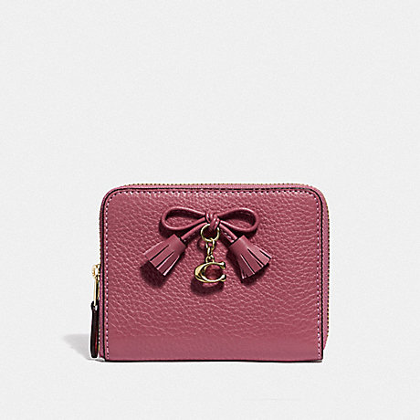 COACH F63714 SMALL ZIP AROUND WALLET STRAWBERRY/LIGHT-GOLD