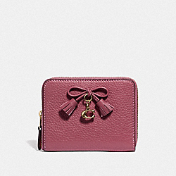 COACH F63714 Small Zip Around Wallet STRAWBERRY/LIGHT GOLD