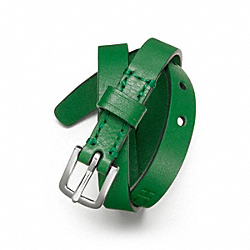 COACH F63750 Double Wrap Leather Bracelet SILVER/GREEN