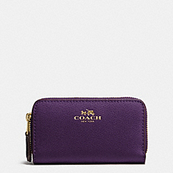 COACH F63921 Small Double Zip Coin Case In Crossgrain Leather IMITATION GOLD/AUBERGINE