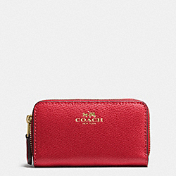 COACH F63921 Small Double Zip Coin Case In Crossgrain Leather IMITATION GOLD/TRUE RED