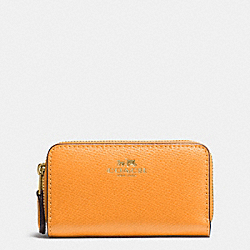 COACH F63921 Small Double Zip Coin Case In Crossgrain Leather IMITATION GOLD/ORANGE PEEL