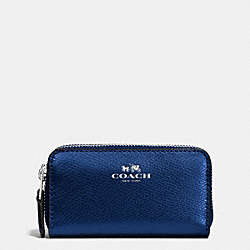 COACH F63921 Small Double Zip Coin Case In Crossgrain Leather SILVER/METALLIC MIDNIGHT