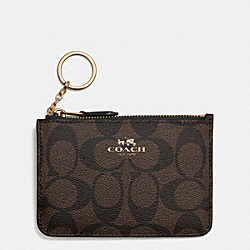 COACH F63923 Key Pouch With Gusset In Signature LIGHT GOLD/BROWN/BLACK