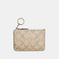 COACH F63923 Key Pouch With Gusset In Signature IMITATION GOLD/LIGHT KHAKI/CHALK