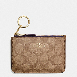 COACH F63923 Key Pouch With Gusset In Signature IMITATION GOLD/KHAKI AUBERGINE