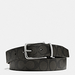 HARNESS CUT TO SIZE REVERSIBLE BELT IN SIGNATURE - SILVER/CHARCOAL/BLACK - COACH F63937