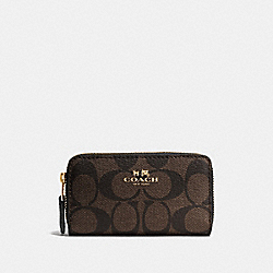 COACH F63975 Small Double Zip Coin Case In Signature LIGHT GOLD/BROWN/BLACK