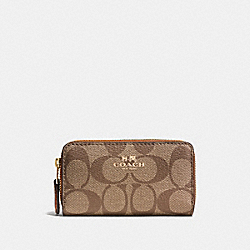 COACH F63975 Small Double Zip Coin Case In Signature LIGHT GOLD/KHAKI/SADDLE