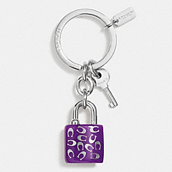 COACH F63985 Sprinkle C Lock And Key Key Ring SILVER/PURPLE IRIS
