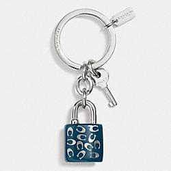 COACH F63985 Sprinkle C Lock And Key Key Ring SILVER/DENIM