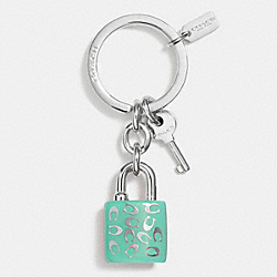 COACH F63985 Sprinkle C Lock And Key Key Ring SILVER/SEAGLASS