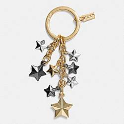 COACH F63987 Stars Multi Mix Key Ring LIGHT GOLD/MULTICOLOR