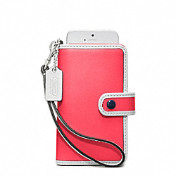 COACH F64037 Archive Two Tone Phone Wristlet SILVER/BRIGHT CORAL/SNOW