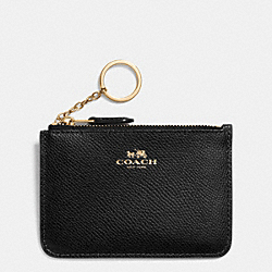 COACH F64064 Key Pouch With Gusset In Crossgrain Leather LIGHT GOLD/BLACK