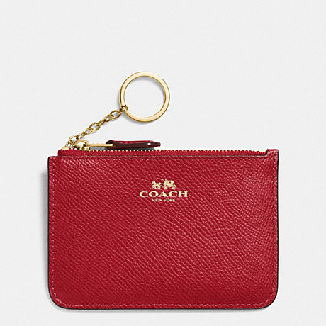 COACH f64064 KEY POUCH WITH GUSSET IN CROSSGRAIN LEATHER IMITATION GOLD/TRUE RED