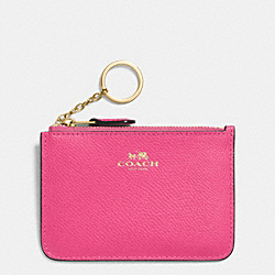 COACH F64064 Key Pouch With Gusset In Crossgrain Leather IMITATION GOLD/DAHLIA