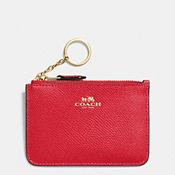 COACH F64064 Key Pouch With Gusset In Crossgrain Leather IMITATION GOLD/CLASSIC RED
