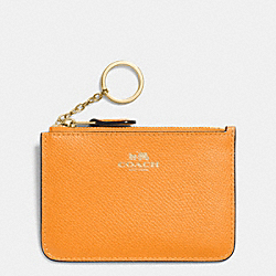 COACH F64064 Key Pouch With Gusset In Crossgrain Leather IMITATION GOLD/ORANGE PEEL