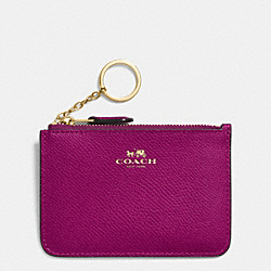 COACH F64064 Key Pouch With Gusset In Crossgrain Leather IMITATION GOLD/FUCHSIA