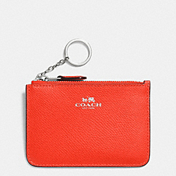 COACH F64064 Key Pouch With Gusset In Crossgrain Leather SILVER/ORANGE