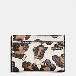 COACH F64065 Flat Card Case In Ocelot Haircalf LIGHT GOLD/CHALK MULTI