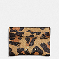 COACH F64065 Flat Card Case In Ocelot Haircalf IMITATION GOLD/NEUTRAL