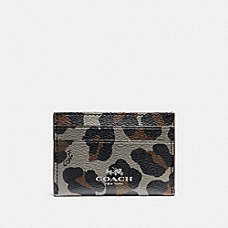 COACH F64065 Flat Card Case With Ocelot Print SILVER/GREY MULTI