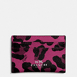 COACH F64065 Flat Card Case In Ocelot Print Coated Canvas SILVER/CRANBERRY