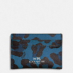 COACH F64065 Flat Card Case In Ocelot Print Coated Canvas SILVER/SLATE