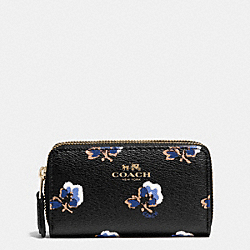 COACH F64066 Small Double Zip Coin Case In Bramble Rose Coated Canvas IME2C