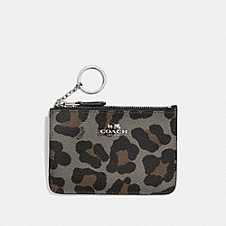 COACH F64072 Key Pouch With Gusset In Ocelot Print Haircalf SILVER/GREY MULTI