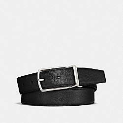 MODERN HARNESS CUT-TO-SIZE REVERSIBLE TEXTURE LEATHER BELT - f64098 - BLACK