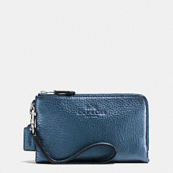 COACH F64130 Double Corner Zip Wristlet In Pebble Leather SVBL9