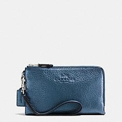 COACH F64130 Double Corner Zip Wristlet In Pebble Leather SVBL9